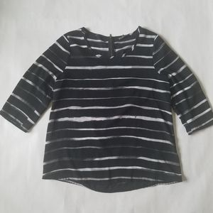Express black and white striped 3/4 sleeve blouse